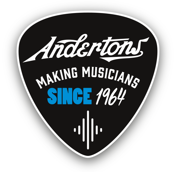 Andertons badge in guitar pick shape