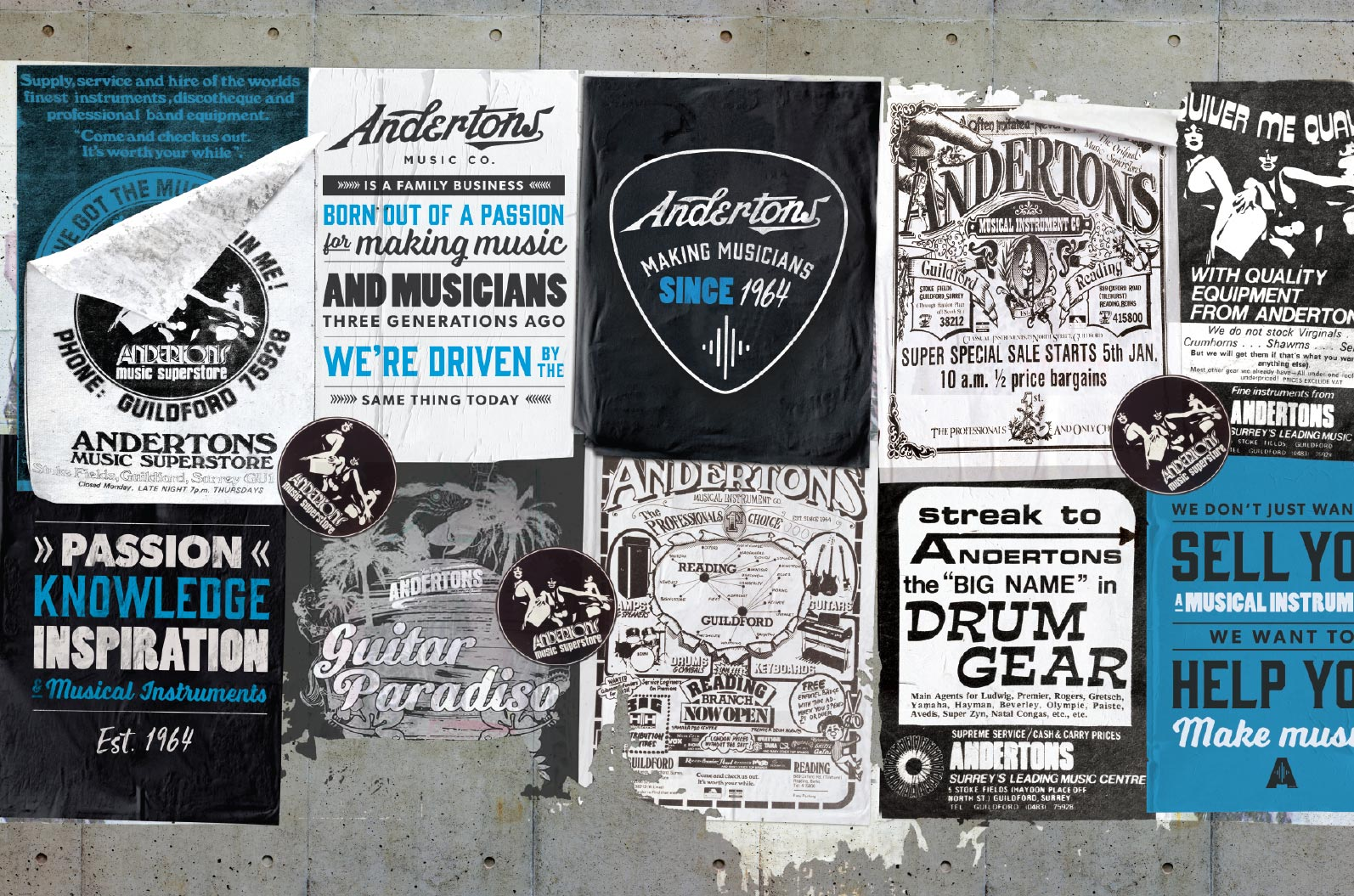wall of grungy Andertons posters