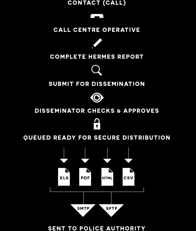 chart showing call process from centre to police