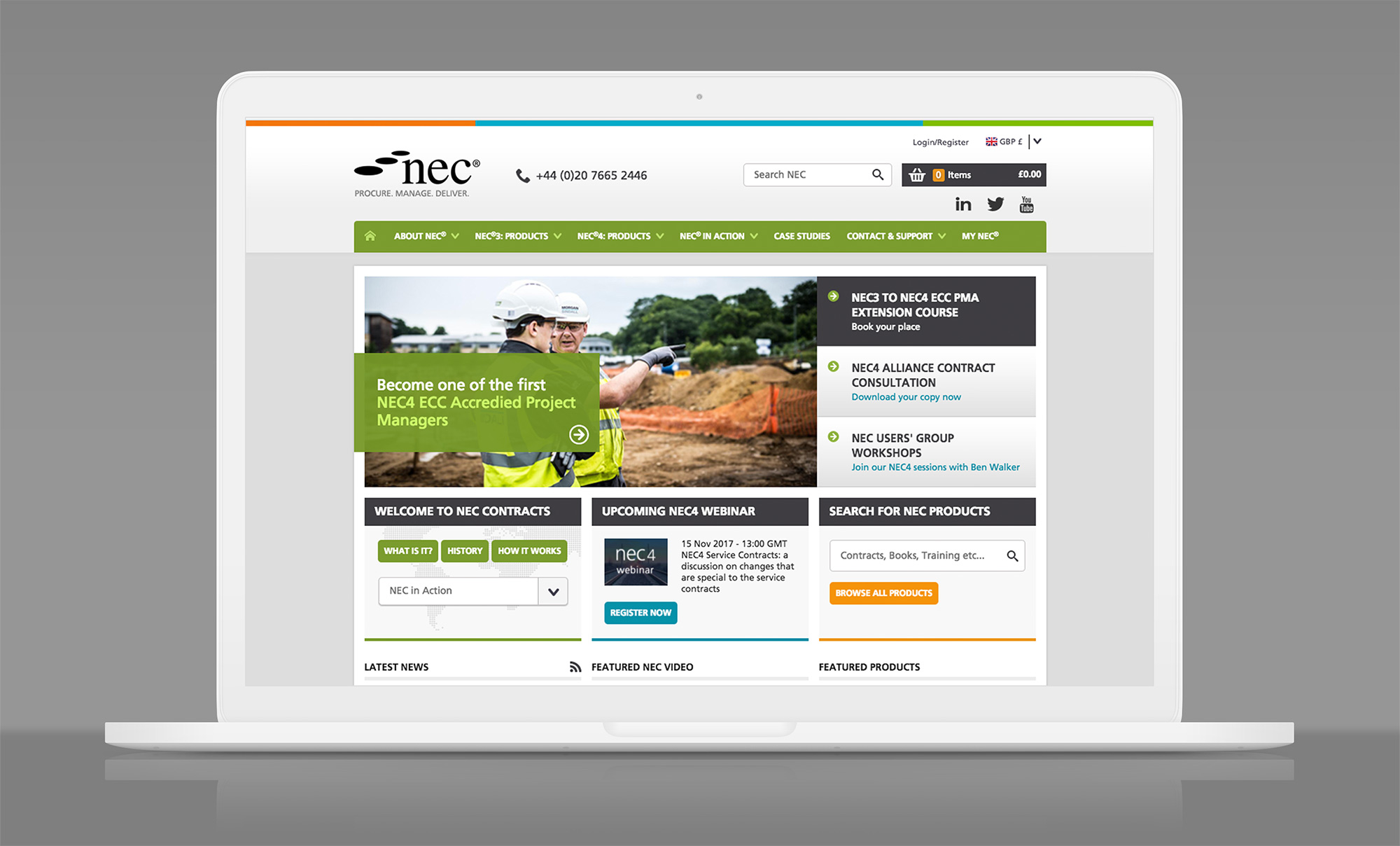 Finished NEC Contracts site displayed on laptop