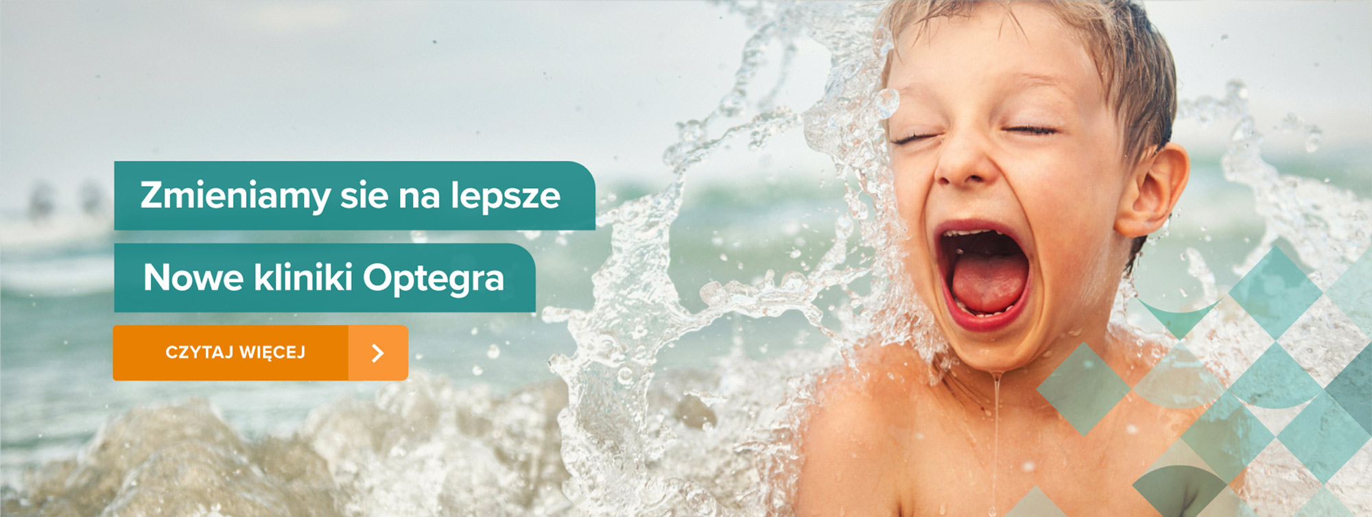 Child swimming in the sea, Polish writing