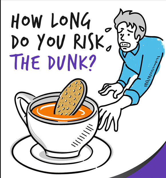 Tea dunking image.  How long do you risk the dunk?