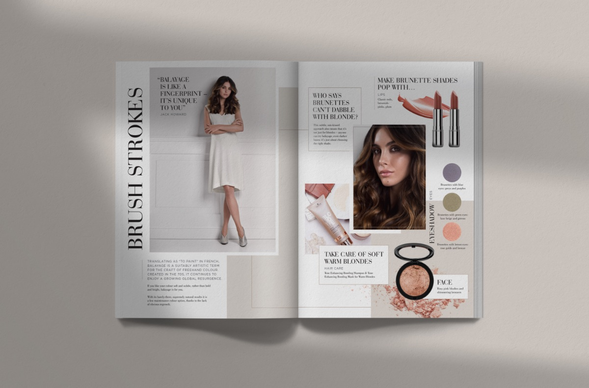 Magazine spread showing a make-up tips page