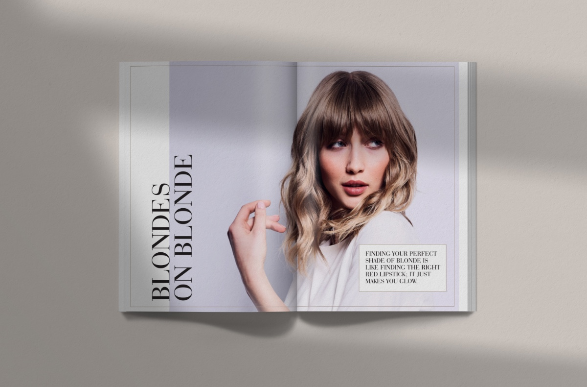 Magazine layout.  Model with fringe
