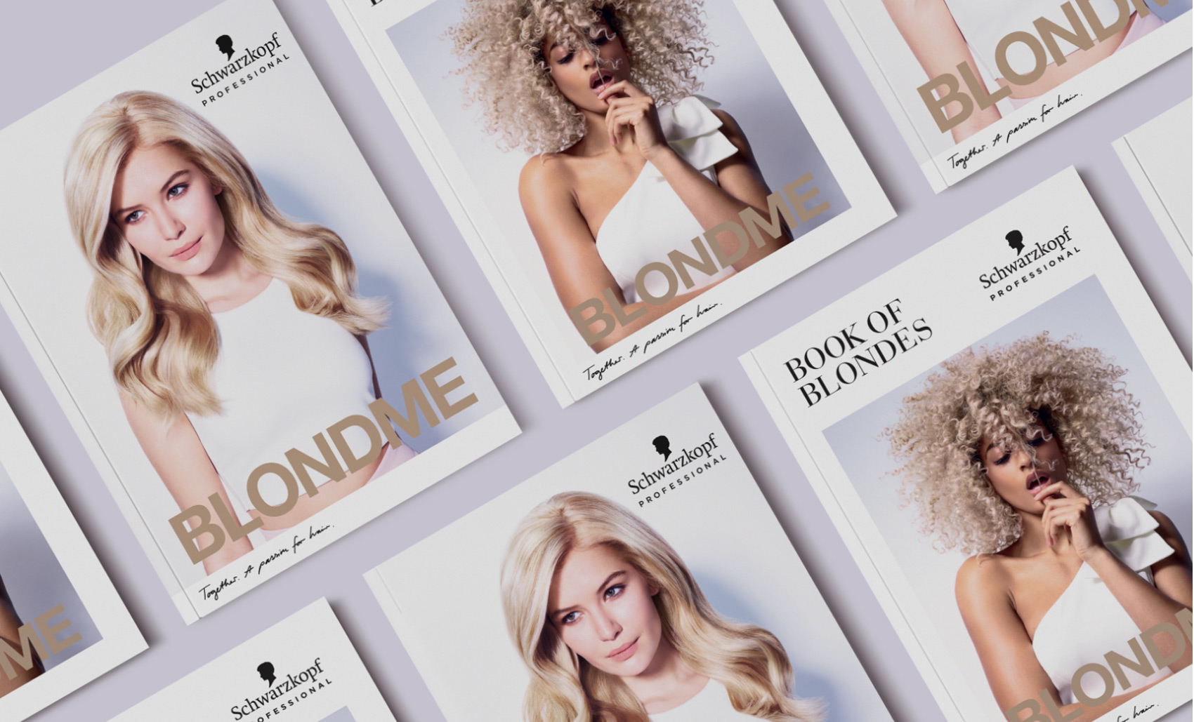 Isometric shot of brochures on table, featuring blonde women portraits