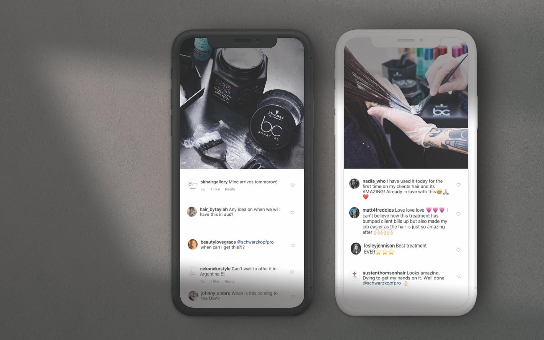 Social media in use on phone