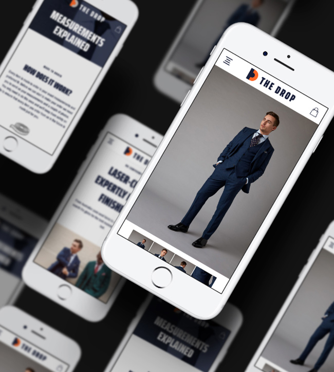 Montage shot of phones showing a suit product page
