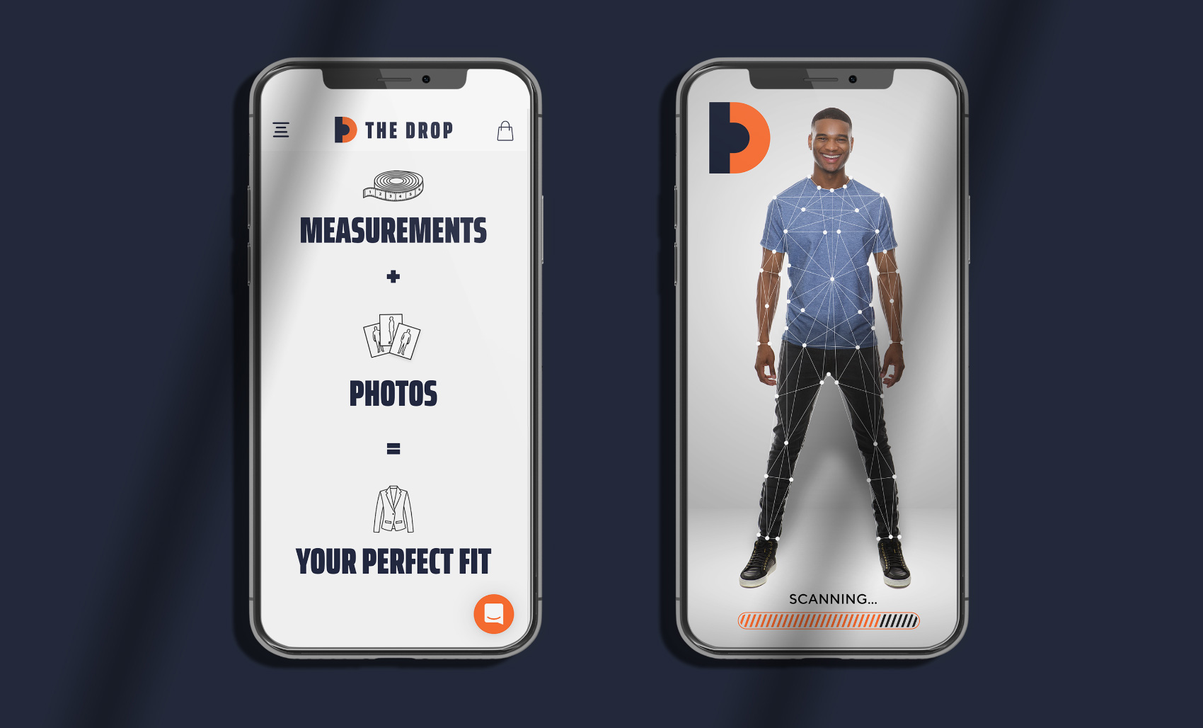 View of mobile app, scanning a user for measurements