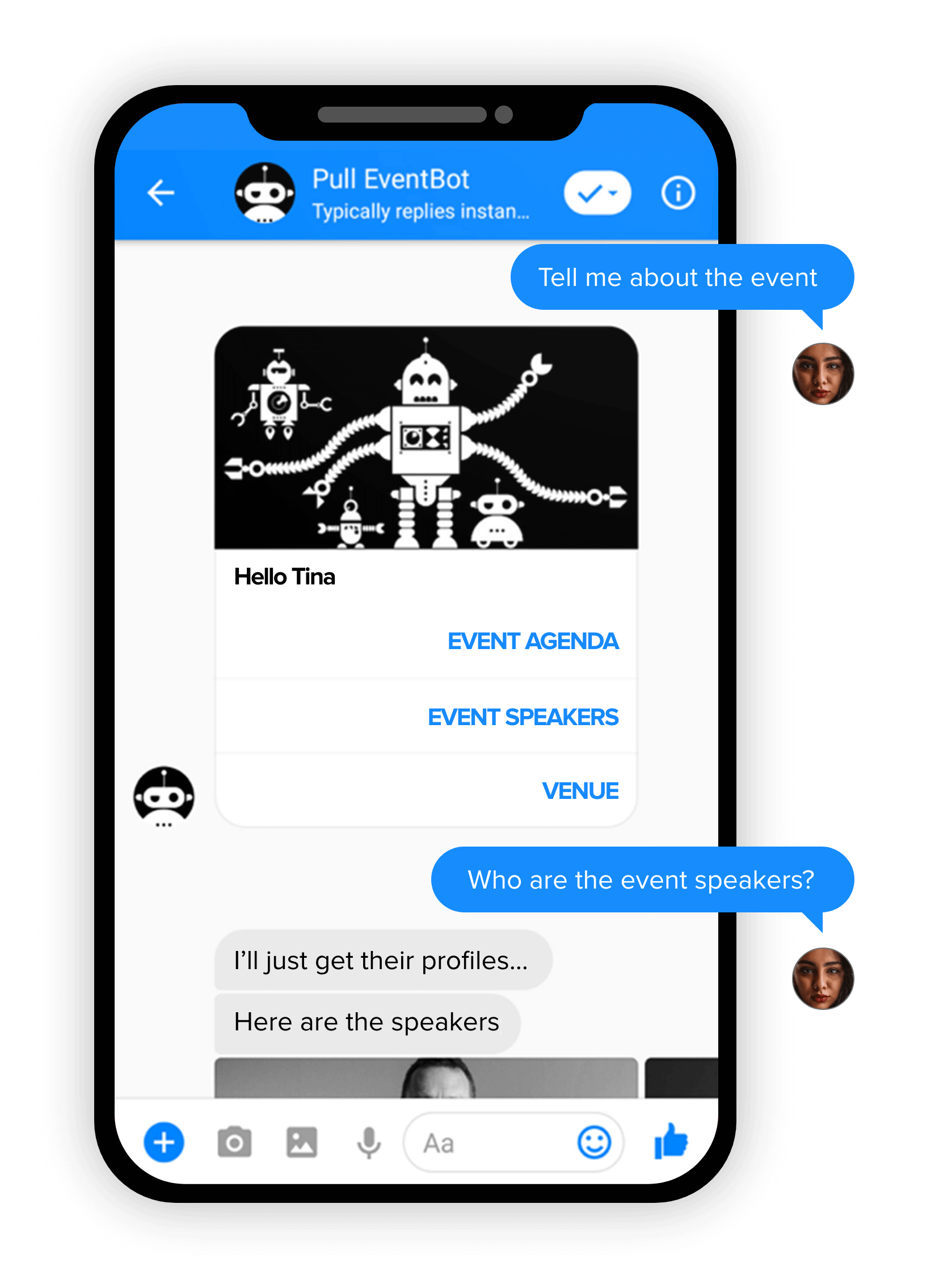 Chatbot app interface